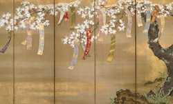 Flowering Cherry...with Poem Slips (detail) by Tosa Mitsuoki (1651)
