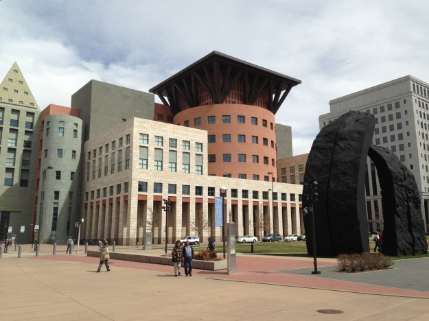 Indira Ganesan, Anonymous Couple(to me) in front of Denver Public Library, 2013