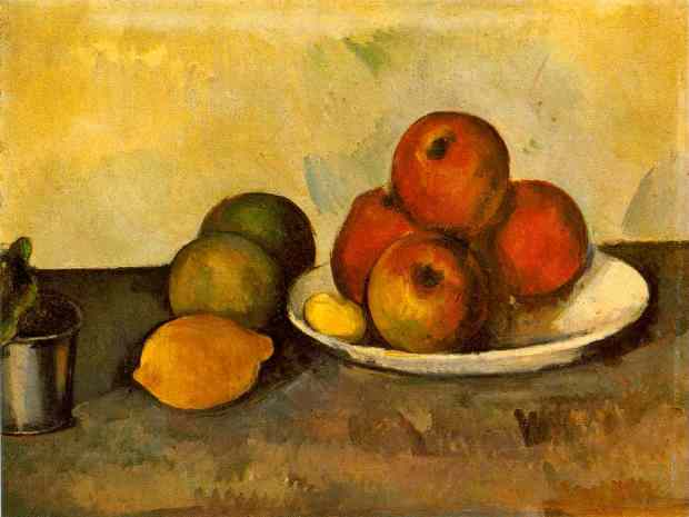 Still Life with Apples  c. 1890 (110 Kb); Oil on canvas, 35.2 x 46.2 cm (13 3/4 x 18 1/8 in); The Hermitage, St. Petersburg  No. ZKP 558. Formerly collection Otto Krebs, Holzdorf http://www.ibiblio.org/wm/paint/auth/cezanne/sl/cezanne.sl-apples.jpg