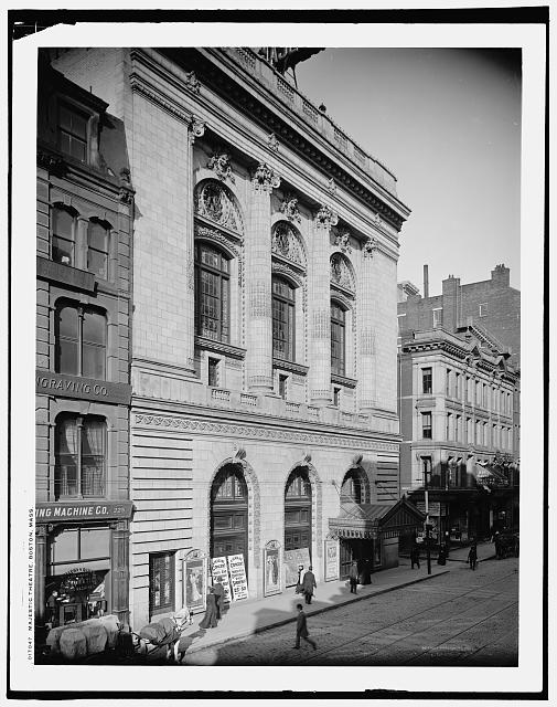 Majestic Theatre, 1882, Boston. Library of Congress Depository, Detroit Publishing Co