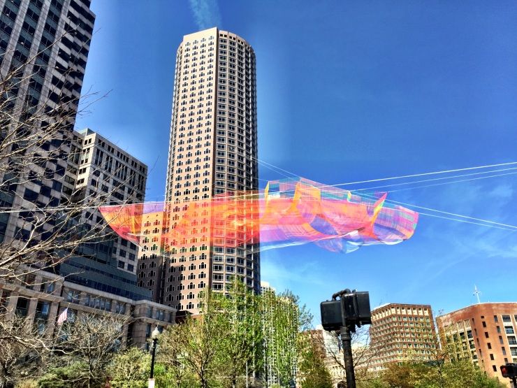 Indira Ganesan, Janet Echelman's art on the greenway, Boston 2015